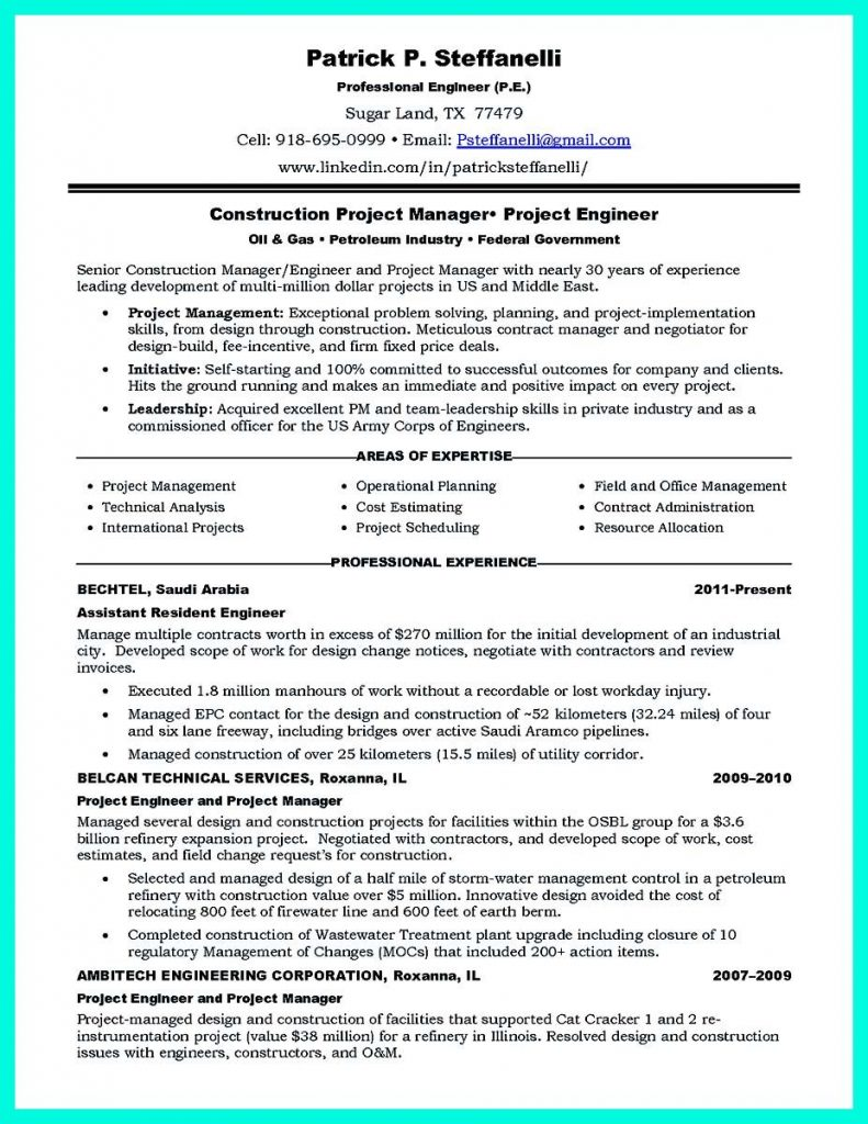 Resume for assistant Project Manager