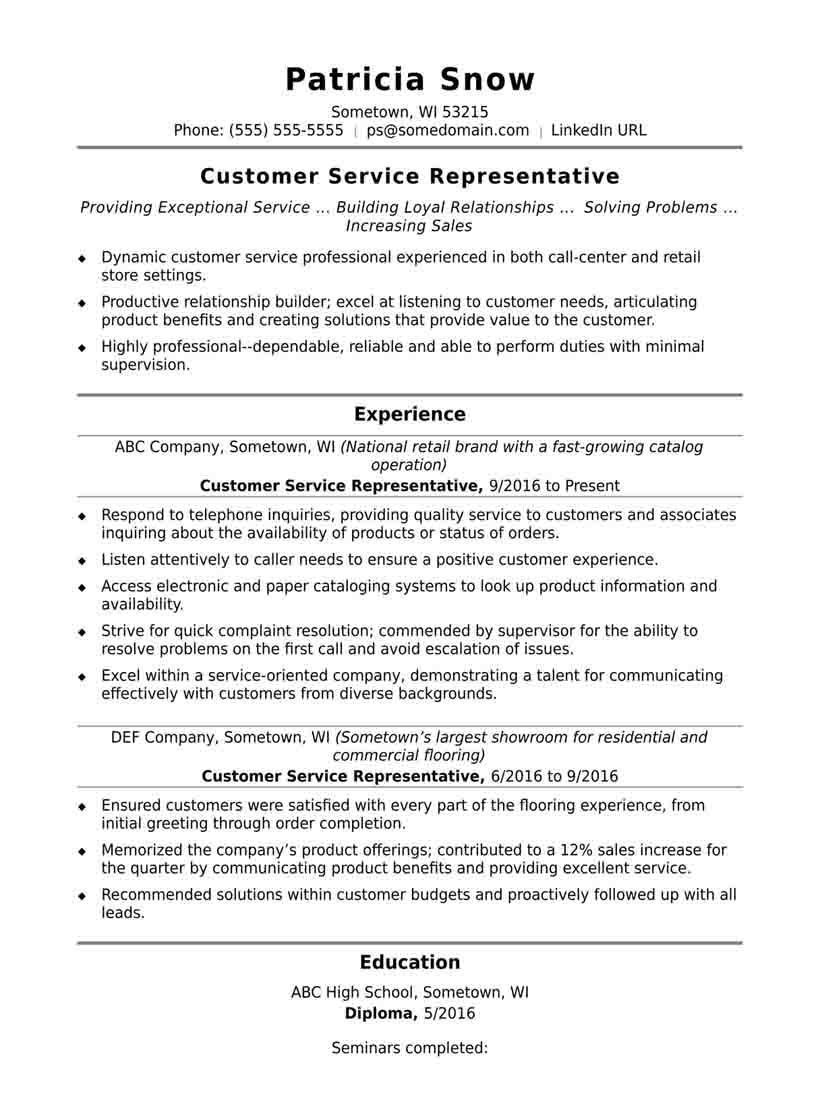 Resume Skills Examples for Resume Objectives for Customer Service